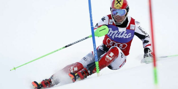 Marcel Hirscher of Austria competes during the first run of an alpine ski, men's World Cup slalom, in Levi, Finland, Sunday, Nov. 17, 2013. (AP Photo/Shin Tanaka)