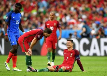 during the UEFA EURO 2016 Final match between Portugal and France at Stade de France on July 10, 2016 in Paris, France.