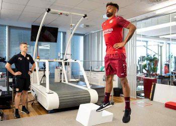 5 July 2018, Leverkusen, Germany - Soccer Bundesliga performance diagnosis: Karim Bellarabi performs in a jump test. Photo: Marius Becker/dpa (Photo by Marius Becker/picture alliance via Getty Images)