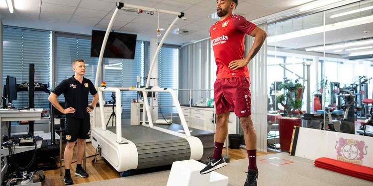 5 July 2018, Leverkusen, Germany - Soccer Bundesliga performance diagnosis: Karim Bellarabi performs in a jump test. Photo: Marius Becker/dpa (Photo by Marius Becker/picture alliance via Getty Images)