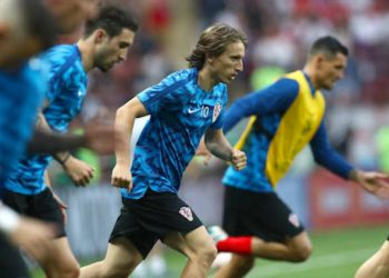 Croatia's Luka Modric warms up ahead of the FIFA World Cup, Semi Final match at the Luzhniki Stadium, Moscow. PRESS ASSOCIATION Photo. Picture date: Wednesday July 11, 2018. See PA story WORLDCUP Croatia. Photo credit should read: Tim Goode/PA Wire. RESTRICTIONS: Editorial use only. No commercial use. No use with any unofficial 3rd party logos. No manipulation of images. No video emulation.
