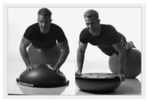 Figura 4: esempio di push-up con appoggio su fitball e Bosu